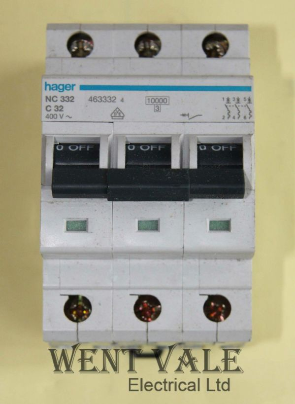 Hager NC332 - 32a Type C Triple Pole MCB Used